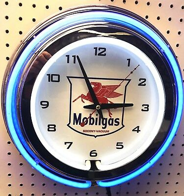 "15"" MOBIL Mobilgas Socony Vacuum Pegasus Sign Double Neon Wall Clock Gas Oil"