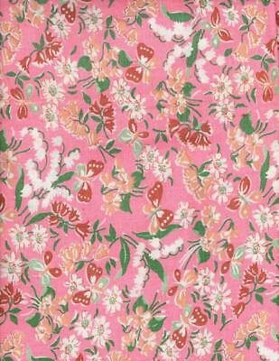 Large Piece of Pink Feedsack Fabric -Lily of Valley & Butterflies 40x32 20213