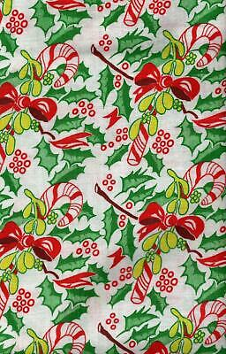 Large Piece of  Christmas Feedsack Fabric with Candy Canes & Holly 19x36 16192