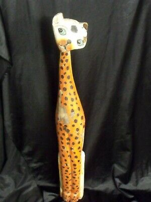 "Antique Guatemalan Hand Carved / Hand Painted Wood 40"" Leopard Cat"