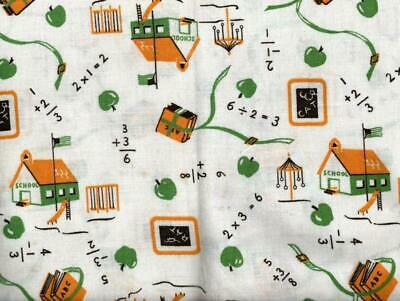 Novelty Print Feedsack Fabric with School House and Math 19x36 16193