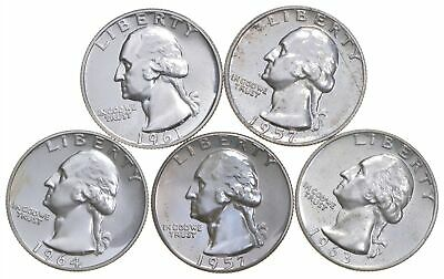 Lot of 5 PROOF 90% SILVER 1958-1964 Washington Quarters Collection Set *160