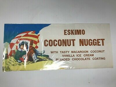 Vintage ESKIMO Coconut Nugget ice cream store display paper poster sign - NOS