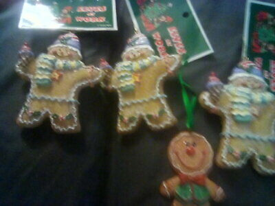 4 Gingerbread Christmas Tree Ornaments