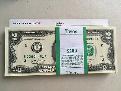 100 New Uncirculated 2 Two Dollar Bills BEP Pack New York 2017