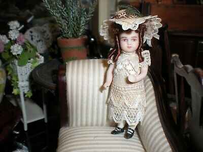 1:12 DOLLHOUSE miniature Victorian girl  ARTISAN DOLL OOAK PORCELAIN