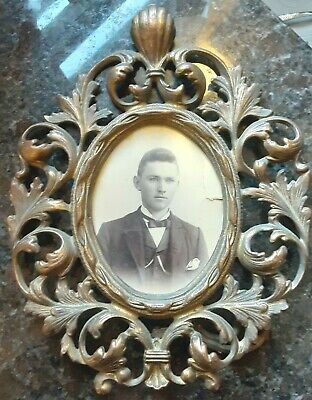 """Vintage Antique Solid Brass Victorian Style Easle Back Picture Frame (11"""" X 9"""")"""
