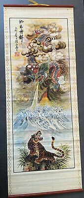 Vintage Bamboo Hanging Wall Scroll Painting Print Dragon Over Tiger