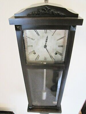 Antique Rare Miniature Gilbert Circa 1800's Wooden Wall Clock.