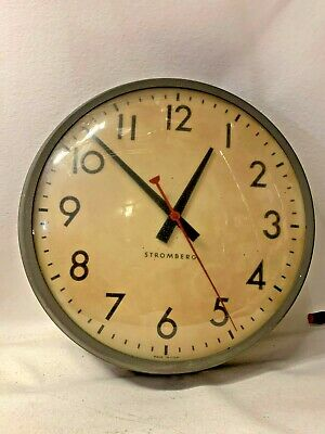 "Vtg General Time Corporation Stromberg Autoset Slave Wall Clock  14"" WORKS"