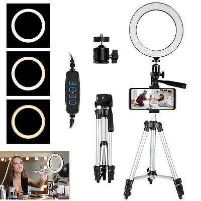 8'' LED SMD Ring Light Kit W/Phone Stand Dimmable 5600K For Camera Makeup Studio