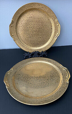 2 Antique? Vintage Wheeling Gold China Platter Dish in Excellent Condition, Gold