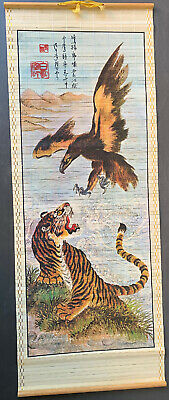 Rare Eagle Tiger Hanging Wall Scroll Painting w/ marks Beautiful 📜