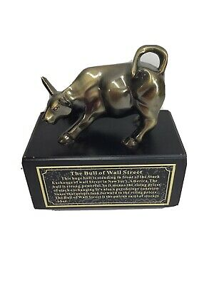 "Vintage The Bull of Wall Street Statue 5"" Great For Desk Etc..."