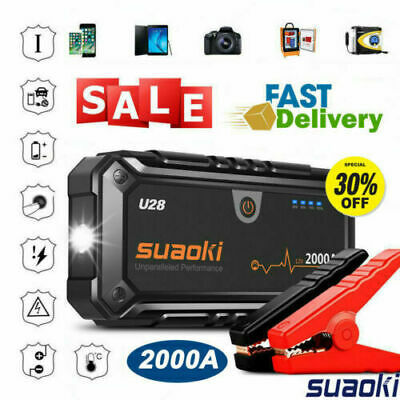 Suaoki 2000A Car Jump Starter Booster Power Bank Battery Charger Rescue Pack 12V