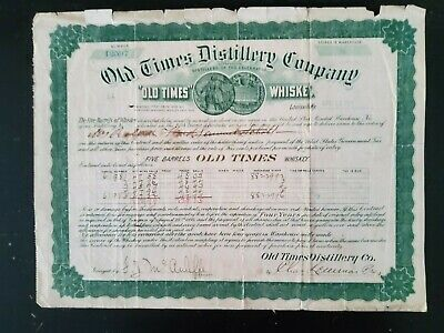 Old Times Distillery Co Louisville, KY certificate 1901 pre-prohibition era