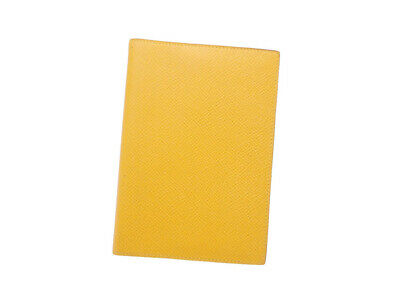 Auth HERMES Square S (1989) Note/Agenda Cover Yellow Leather - e44775