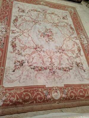 """French Aubusson Carpet Knotted Wool Classic Carpet 7 ft 7"""" by 9' 10"""""""
