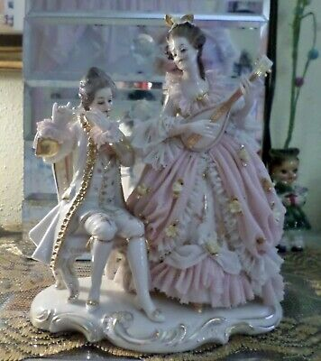 DRESDEN MAN AND LADY FIGURINE, PLAYING MUSICAL INSTRUMENTS, 7 1/4 inches tall