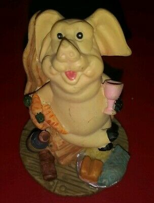 Pig Statue Figurine Ceramic Piggy Sitting In Chair Eating Farmhouse Country Pigs