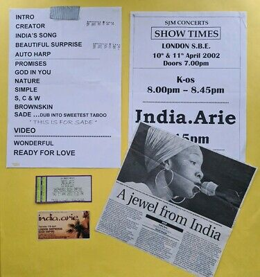 India Arie London 2002 ticket set list setlist review Voyage To India LP tour