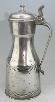ANTIQUE SCOTTISH PEWTER CRESTED KNOPPED LIDDED TAPPIT HEN TANKARD MEASURE c1750