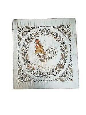 19th Century Large Stumpwork Beaded Silk Rooster