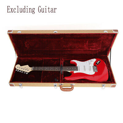 High Grade ST Electric Guitar Square Hard Case Lockable Wood & Leather Carry Box