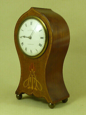 Art Nouveau Mahogany Inlaid Balloon Mantle Clock French 8 Day Antique