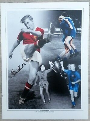 Signed Bobby Charlton England 1966 World Cup Final Print (Manchester United)