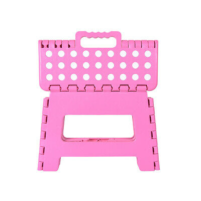 Small Fold Stool Multi Purpose Heavy Duty Home Kitchen Foldable Step Chair Pink