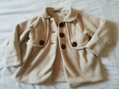 Next Girls 2-3 Years Pea Coat Beige Cream Collar