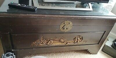 Large Engraved Camphor Chest From Hong Kong