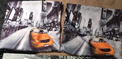 Lot Of 2 New York Yellow Taxi Cab Grey Black Cushion Covers