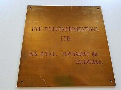 Vintage Heavy Brass Pye Telecomunications Reg Office Cambridge Wall Plaque Gc