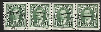 CANADA : 1937 COIL STRIP of 4 SG368 USED