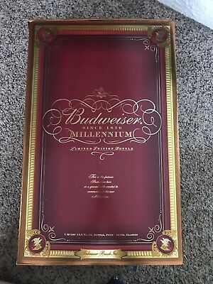 NEW Budweiser Millennium Limited Edition Collectors Bottle with 4 Glasses Set