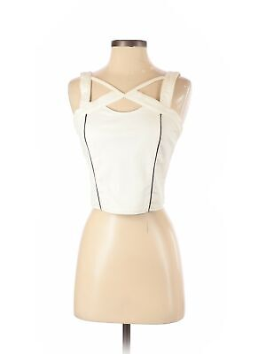 NWT Assorted Brands Women Ivory Faux Leather Top M