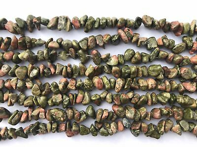 6-8mm Natural Green/Pink Unakite Chips Beads Gemstone Freeform Strands 16""