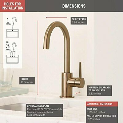 Champagne Bronze Delta Faucet RP73390CZ Trinsic Single Metal Lever Handle Assembly-Wall Mount Bathroom