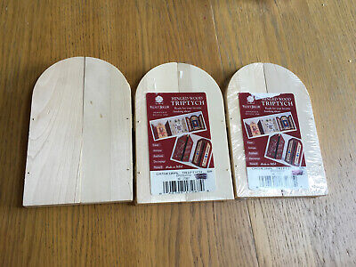 Set 3 Blank Wooden Triptych Fairy Doors. Cathedral Basswood Hinged Craft