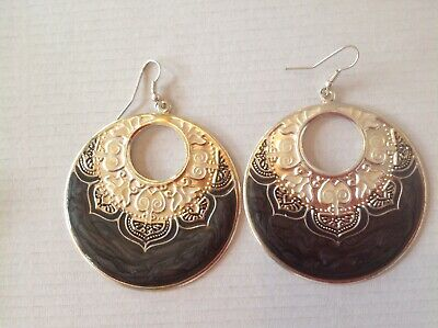 Large Hoop Earrings With Mottled Grey, Silver And Gold Colour Decor.