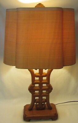 Vtg Chinese Asian Wood Lamp Hand carved Solid Wood High Quality Leonard R. Foss