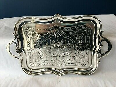 Charming Antique Russian Engraved Silver Tray Moscow 1889