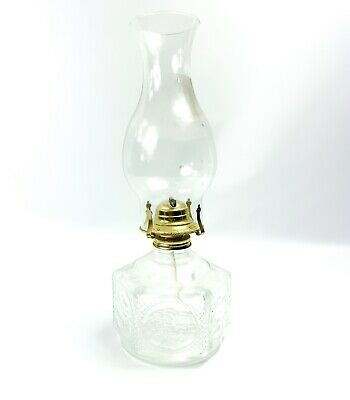 Vintage Antique Lamplight Farms Clear Glass 6 Sided Oil Base Hurricane Lamp