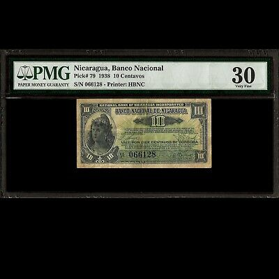 National Bank of Nicaragua 10 Centavos 1938 PMG 30 Very Fine P-79 Printer: HBNC