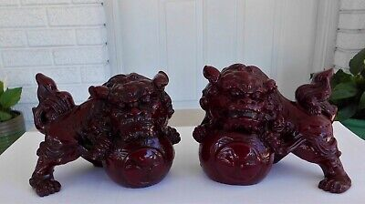 Vintage Pair Of Chinese Red Mahogany  Resin Foo / Temple Dogs