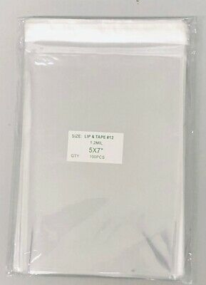 """100 Super Clear 5"""" x 7"""" Resealable Cellophane Lip and Tape Bags 1.2mil"""