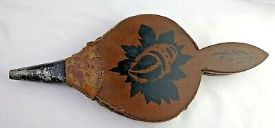 Antique Vintage Wood and Leather Fireplace Bellows