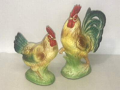 Vintage Glazed Porcelain Ceramic Colorful Rooster and Chicken Figurines